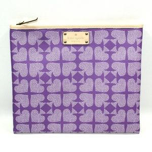 Kate Spade Adrienne pebbled ace of spades pouch